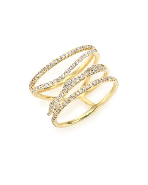 Meira T | Metallic Diamond & 14k Yellow Gold Multi-band Ring | Lyst