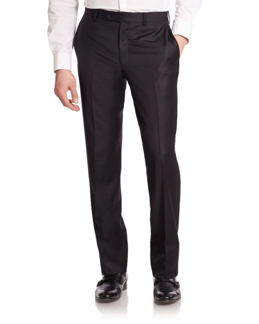 Saks Fifth Avenue | Black Wool Dress Pants for Men | Lyst
