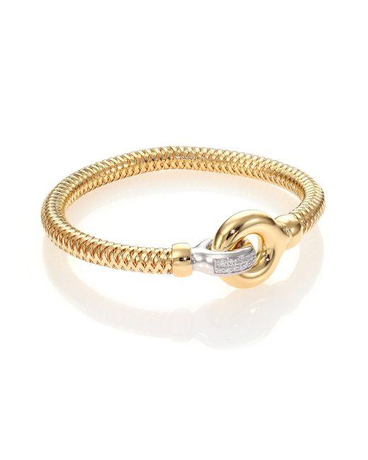 Roberto Coin | Metallic Primavera Diamond, 18k White & Yellow Gold Interlock Bangle Bracelet | Lyst