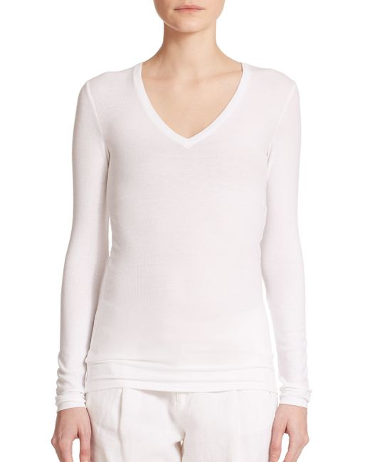 ATM   White Long-sleeve V-neck Tee   Lyst