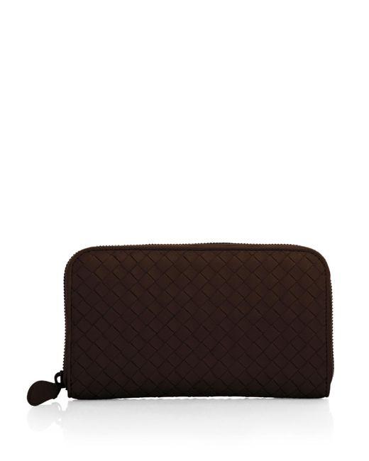 Bottega Veneta | Brown Intrecciato Zip Continental Wallet | Lyst