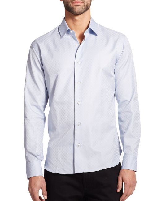 Ferragamo | Blue Tonal Gancini Button-down Shirt for Men | Lyst