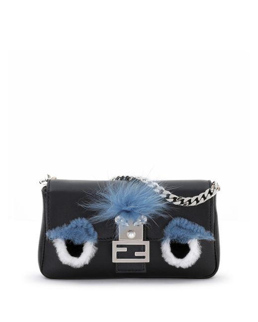 Fendi   Blue Micro Monster Leather Baguette Bag - Black   Lyst