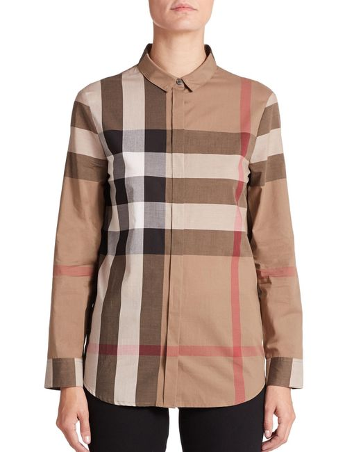 Burberry | Brown Large-check Blouse | Lyst