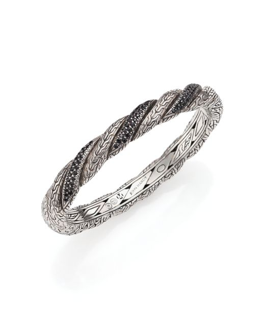 John Hardy | Classic Chain Black Sapphire & Sterling Silver Twisted Bangle Bracelet | Lyst
