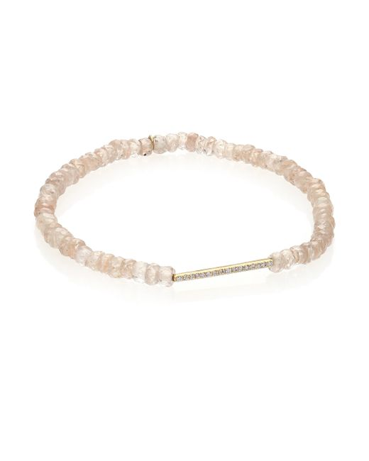 Sydney Evan | Metallic Diamond, Champagne Zircon & 14k Yellow Gold Bar Beaded Stretch Bracelet | Lyst