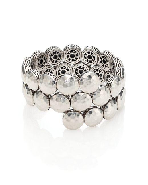 John Hardy | Metallic Dot Sterling Silver Disc Double Coil Bracelet | Lyst