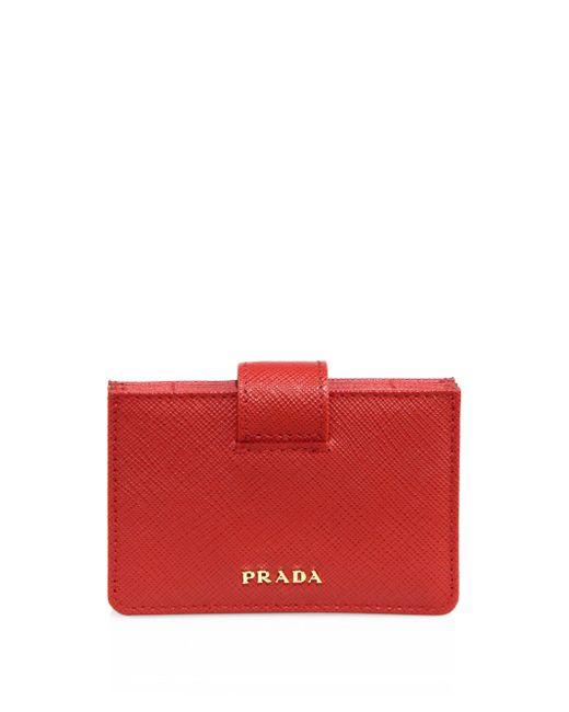 Prada   Red Saffiano Leather Accordion Card Case   Lyst