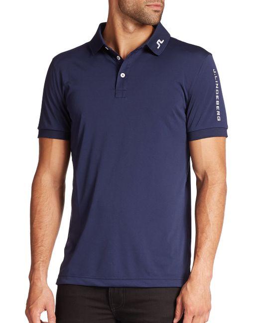 J.Lindeberg | Blue Tour Tech Logo Polo for Men | Lyst