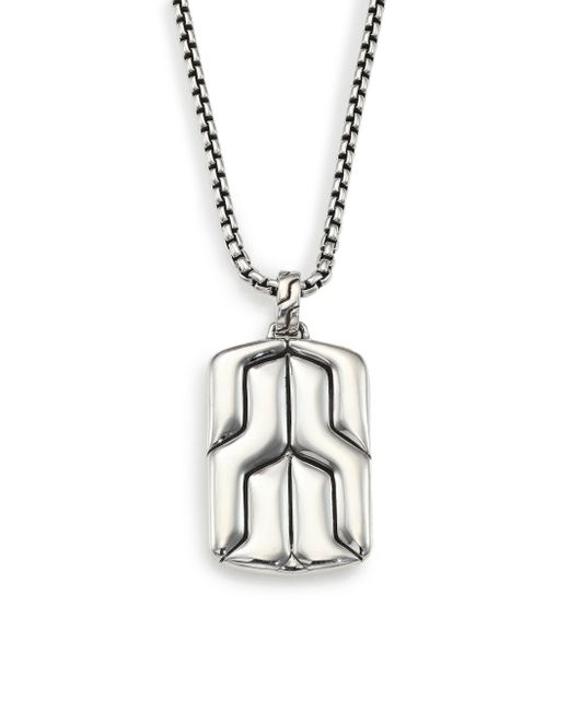 John Hardy | Metallic Classic Chain Sterling Silver Dog Tag Necklace | Lyst