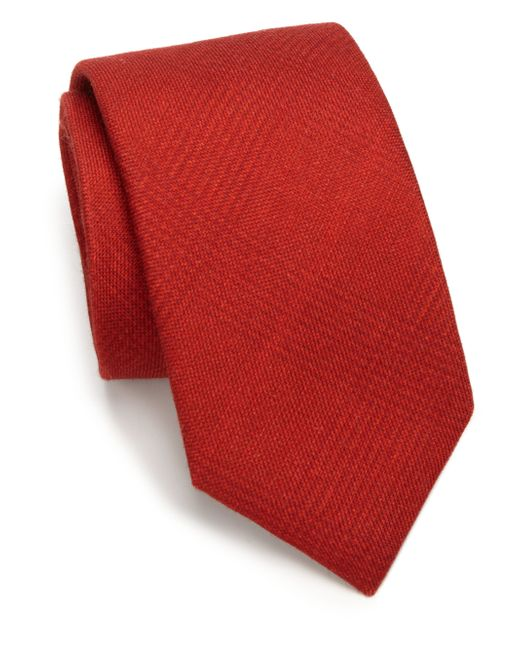Saks Fifth Avenue | Red Solid Plaid Silk & Wool Tie for Men | Lyst