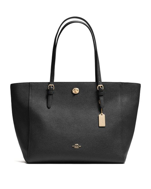 COACH | Black Turnlock Leather Tote | Lyst