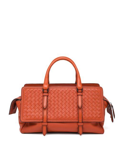 Bottega Veneta | Orange Belted Basket-weave Leather Satchel | Lyst