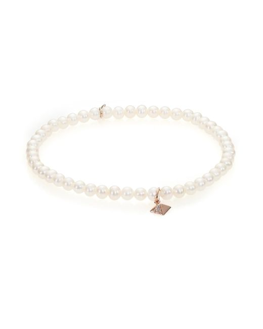 Sydney Evan | Pink Diamond, 3mm White Pearl & 14k Rose Gold Pyramid Beaded Stretch Bracelet | Lyst