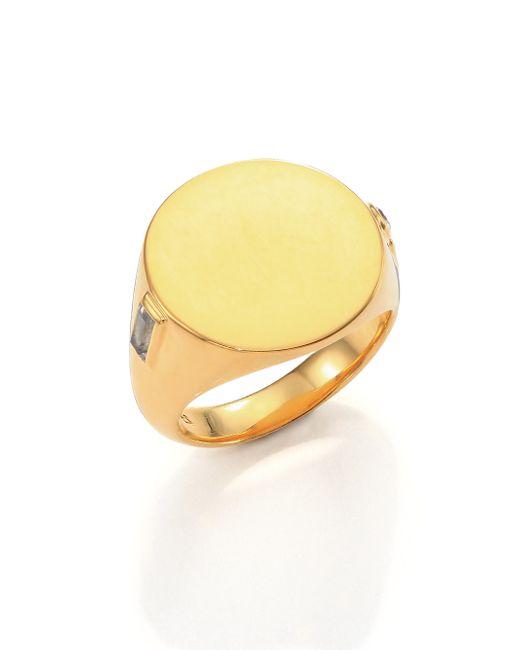 Elizabeth and James | Metallic Serra White Sapphire Signet Ring | Lyst