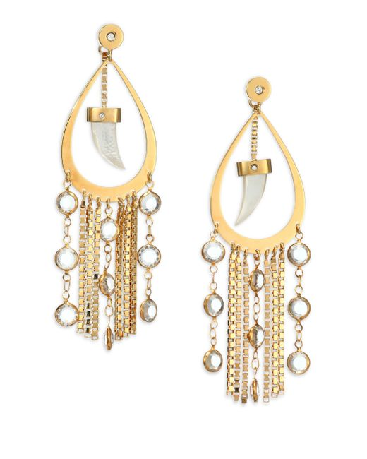 House of Lavande | Metallic Nihiwatu Mother-of-pearl & Crystal Double-sided Fringe Teardrop Earrings | Lyst