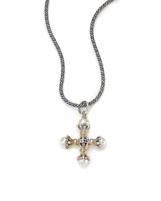 Konstantino | Metallic Classic 4mm-5mm White Pearl, 18k Yellow Gold & Sterling Silver Small Maltese Cross Pendant | Lyst