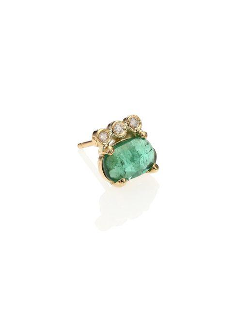 Jacquie Aiche | Metallic Green Tourmaline, Diamond & 14k Yellow Gold Three-bezel Single Stud Earring | Lyst