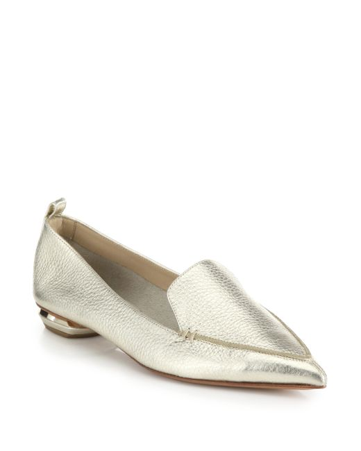 Nicholas Kirkwood | Bottal Metallic Leather Point Toe Loafers | Lyst