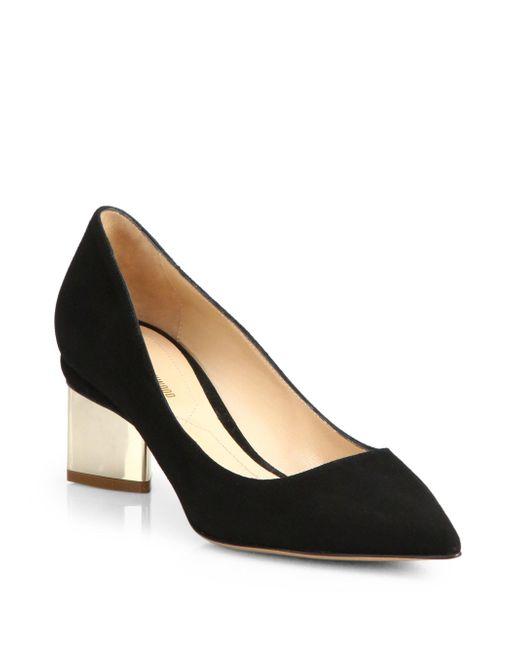 Nicholas Kirkwood | Black Suede Block Heel Pumps | Lyst