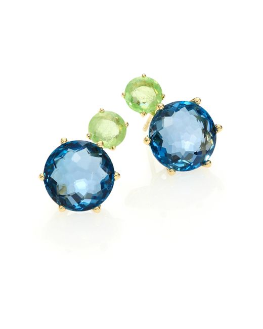 Ippolita | Lollipop Peridot, London Blue Topaz & 18k Yellow Gold Two-stone Post Earrings | Lyst