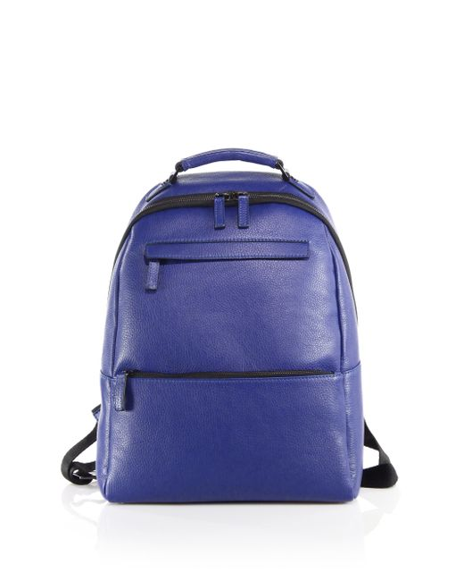 Saks Fifth Avenue | Blue Oblique-zip Leather Backpack for Men | Lyst