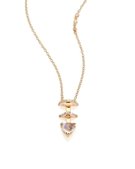 Phyne By Paige Novick | Metallic Olivia Diamond, Moonstone & 14k Yellow Gold Pendant Necklace | Lyst