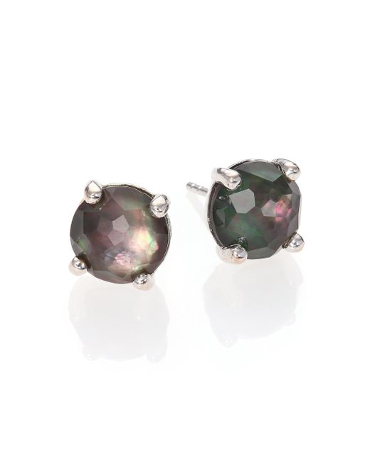 Ippolita | Metallic Rock Candy Black Shell, Clear Quartz & Sterling Silver Doublet Stud Earrings | Lyst