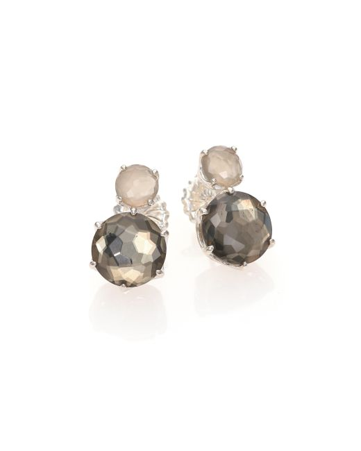 Ippolita | Metallic Rock Candy Grey Moonstone, Pyrite & Sterling Silver Two-stone Stud Earrings | Lyst