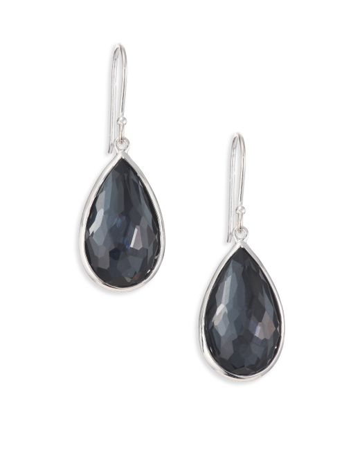 Ippolita | Blue Rock Candy Hematite, Clear Quartz & Sterling Silver Doublet Pear Drop Earrings | Lyst
