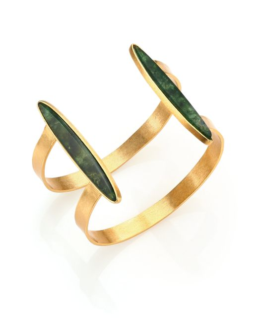 Stephanie Kantis | Duo Green Moss Agate Cuff Bracelet | Lyst