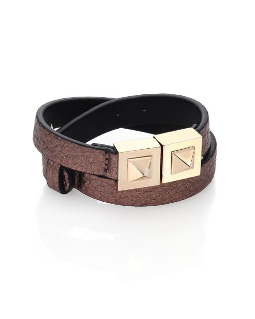 Valentino | Two-stud Metallic Leather Wrap Bracelet | Lyst