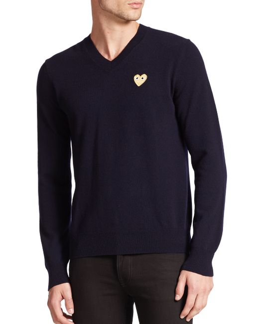 Play Comme des Garçons | Blue Small Emblem V-neck Sweater for Men | Lyst
