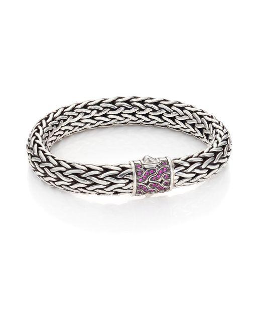 John Hardy | Metallic Classic Chain Pink Sapphire & Sterling Silver Large Bracelet | Lyst