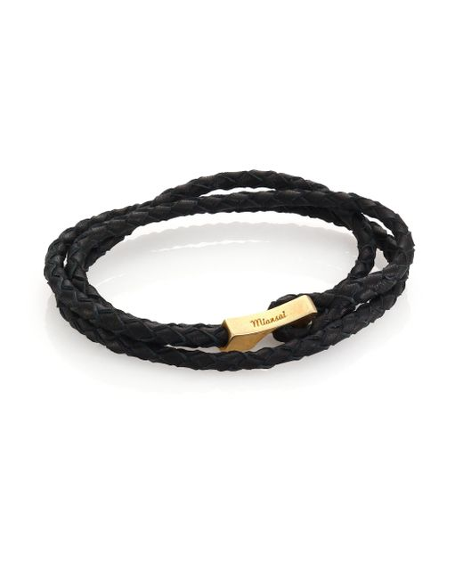 Miansai | Black Brass Braided Leather Wrap Bracelet for Men | Lyst
