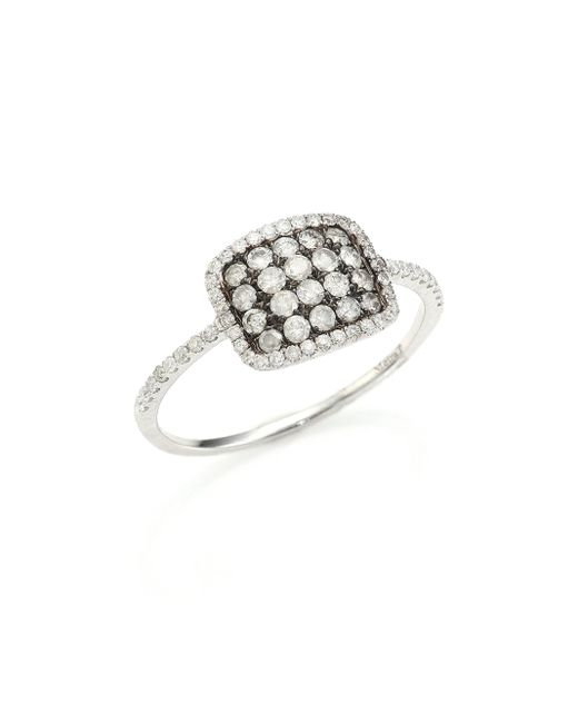 Meira T | Metallic Diamond & 14k White Gold Cushion Ring | Lyst