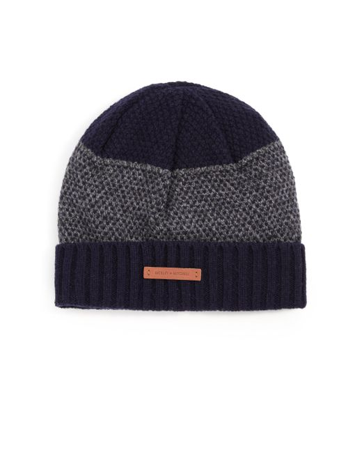 Bickley + Mitchell | Gray Mixed-pattern Cuffed Lambswool Beanie for Men | Lyst