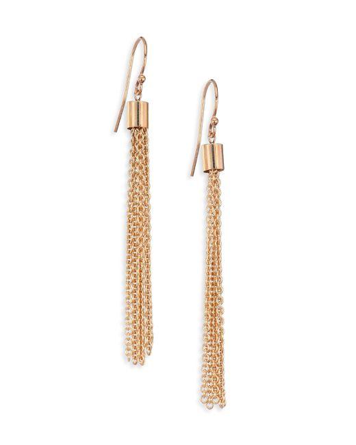 Zoe Chicco   Metallic 14k Yellow Gold Chain Tassel Earrings   Lyst