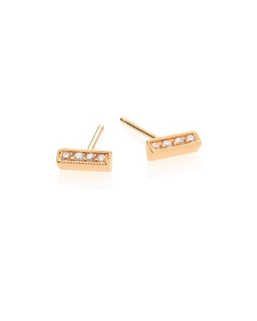 Zoe Chicco | Metallic Diamond & 14k Yellow Gold Triangle Bar Stud Earrings | Lyst