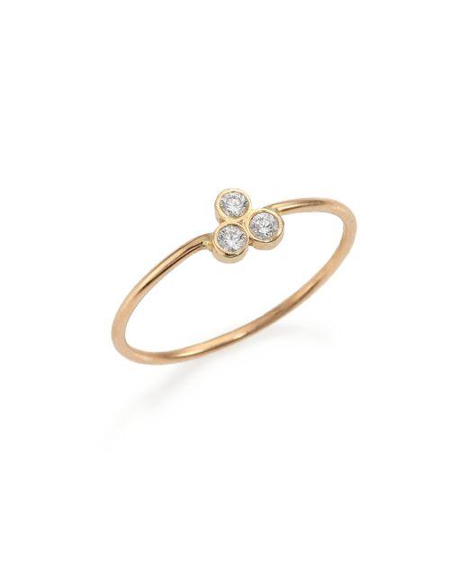 Zoe Chicco | Metallic Diamond & 14k Yellow Gold Three-bezel Ring | Lyst