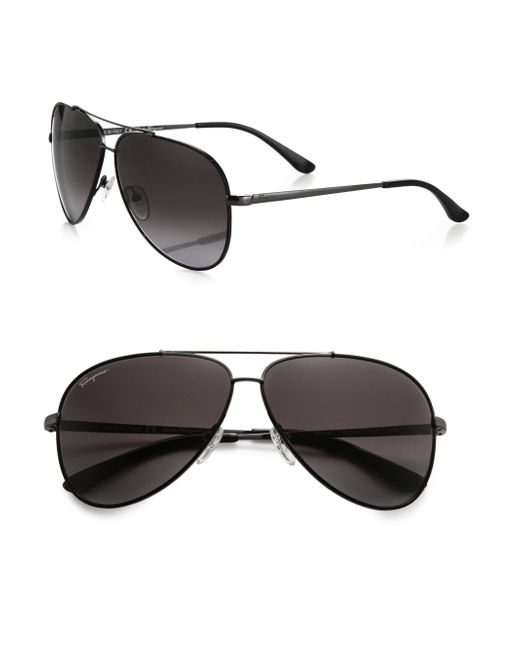 Ferragamo | Black Classic Aviator 60mm Sunglasses for Men | Lyst