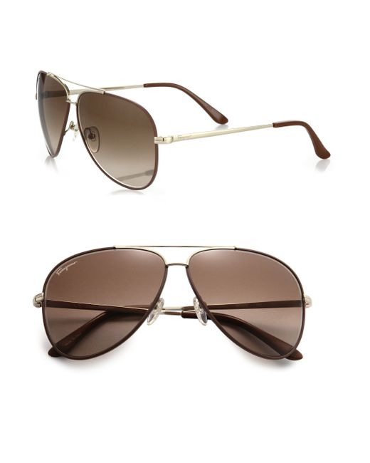 Ferragamo | Metallic Classic Aviator 60mm Sunglasses for Men | Lyst