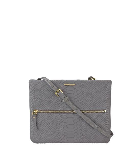 Gigi New York | Gray Python-embossed Leather Crossbody Bag | Lyst