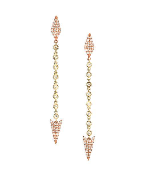 Meira T | Metallic Diamond & 14k Yellow & Rose Gold Arrow Drop Earrings | Lyst