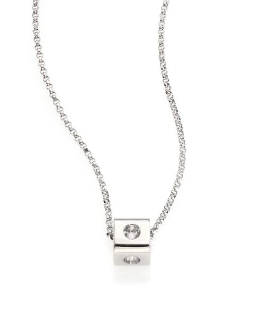Roberto Coin | Metallic Pois Moi 18k White Gold Mini Cube Pendant Necklace | Lyst