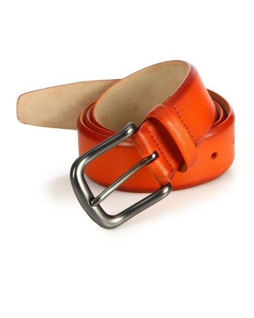Saks Fifth Avenue | Orange Hives Burnished Leather Belt for Men | Lyst