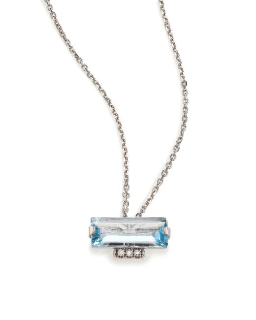 KALAN by Suzanne Kalan | Metallic Soleil Blue Topaz, Diamond & 14k White Gold Layered Baguette Pendant Necklace | Lyst