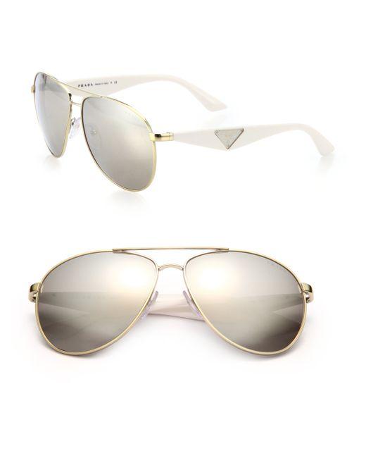 Prada | Metallic 60mm Aviator Sunglasses | Lyst