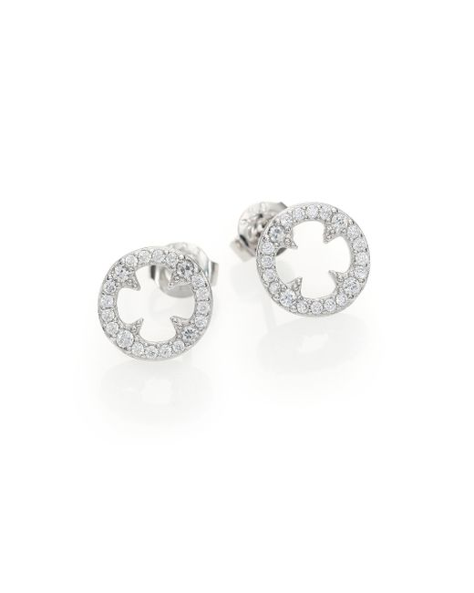 Adriana Orsini | Metallic Heart & Soul Pave Sterling Silver Clover Disc Stud Earrings | Lyst