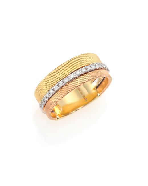 Marco Bicego | Metallic Goa Diamond, 18k White, Rose & Yellow Gold Band Ring | Lyst